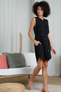Black Crepe Sleeveless Dress
