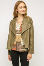 Faux Leather Drape Jacket