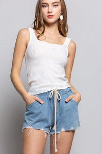 Elastic Waist Denim Shorts