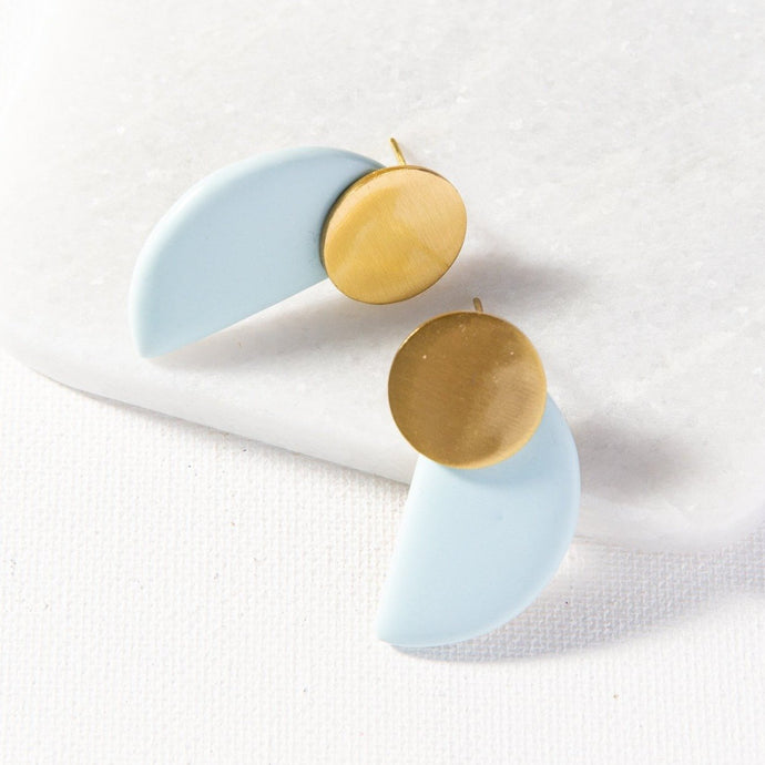Sky Blue Semicircle Earrings