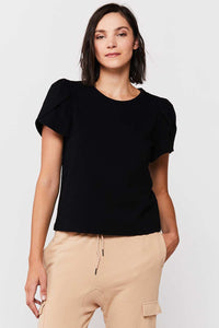 Tulip Sleeve Black Tee