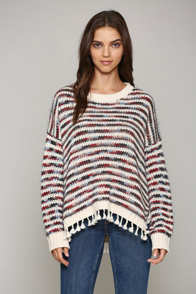 Rustic Stripe Fringe Sweater