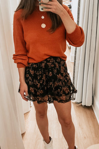 Brown Floral Mini Skirt