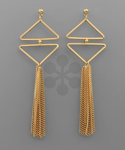 Gold Triangle and Tassel Earrings