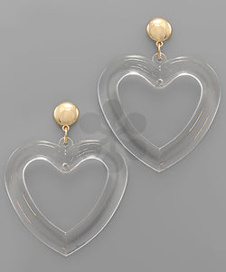 Clear Heart Earrings