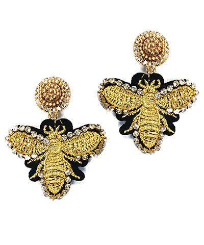 Woven Bee Earrings