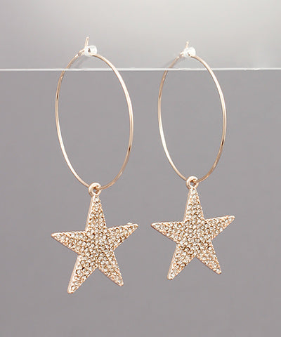 Pave Star Dangle Hoops