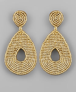 Shiny Gold Bead Teardrop Earrings