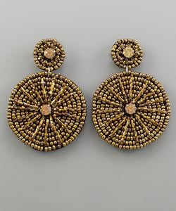Bronze Shine Beaded Disk Earrings