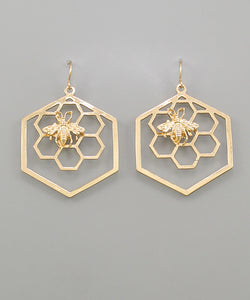 Gold Bee Hexagon Earrings