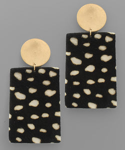 Cowhide Rectangle Earrings