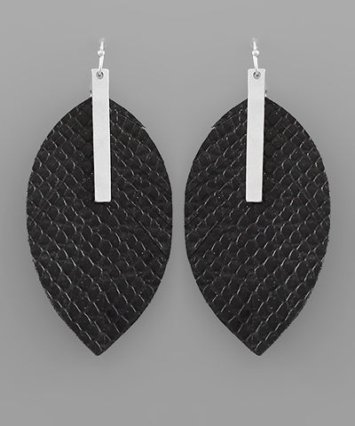 Black Leather Leaf Earring