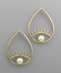 Pearl Evil Eye Earrings