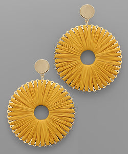 Mustard Raffia Circle Earrings