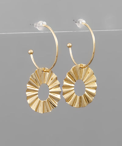 Gold Crinkle Oval Hoops