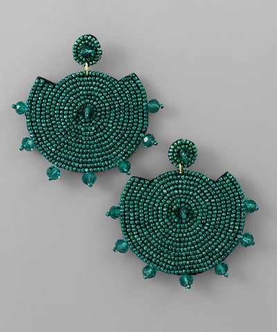 Beaded Disk and Gem Earrings