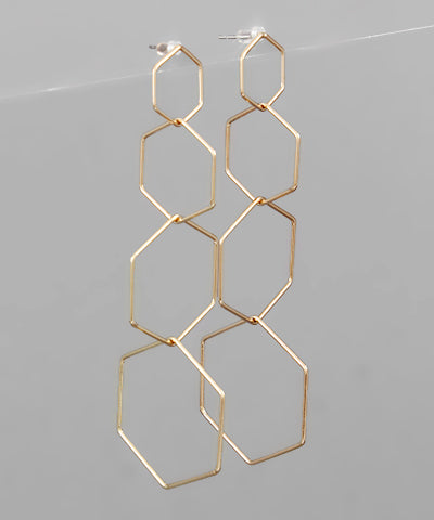 Multi Hexagon Earrings