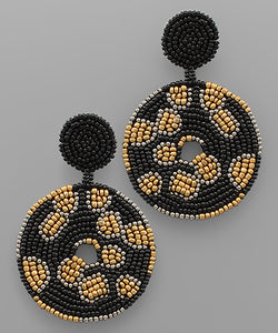 Black Leopard Bead Earrings