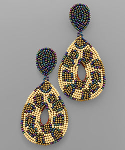 Multi Leopard Bead Teardrop Earrings