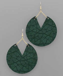 Cracked Leather Disk Earrings