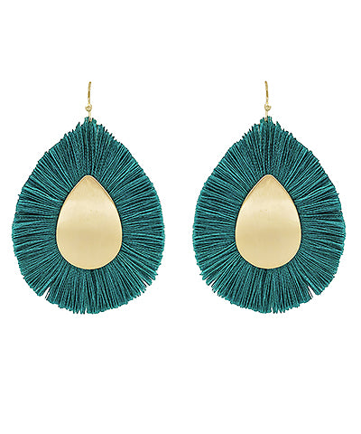 Teal Fan Teardrop Earrings