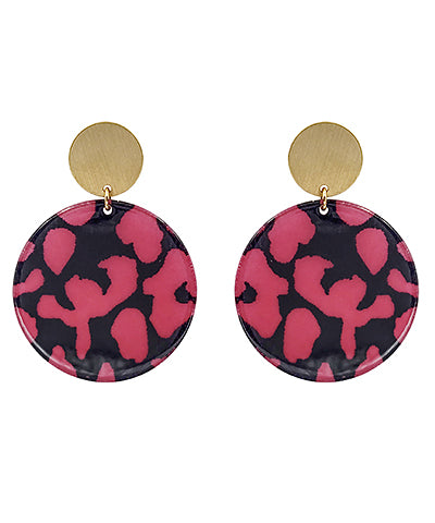 Acrylic Leopard Disk Earrings