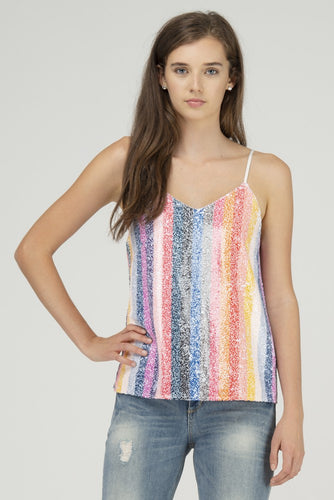 Rainbow Sequins Stripe Cami