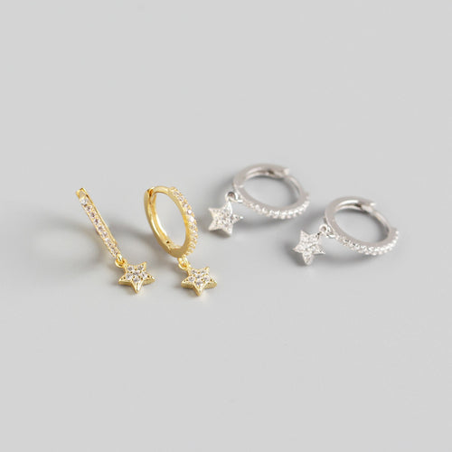925 CZ Star Dangle Huggies