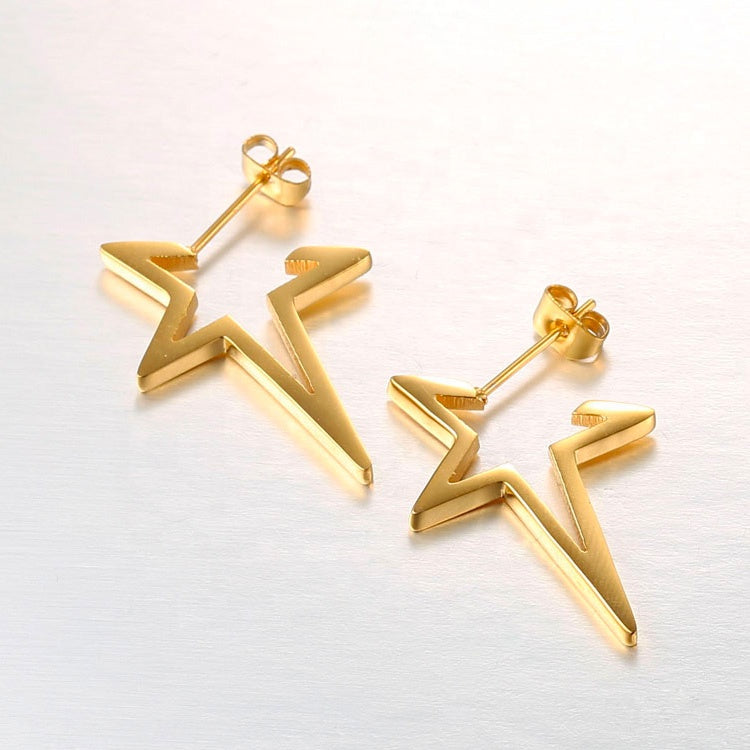 Small Gold Star Hoop Earrings