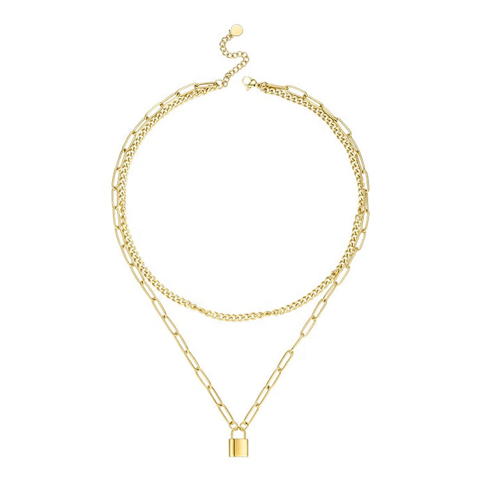 Gold Lock Layer Necklace