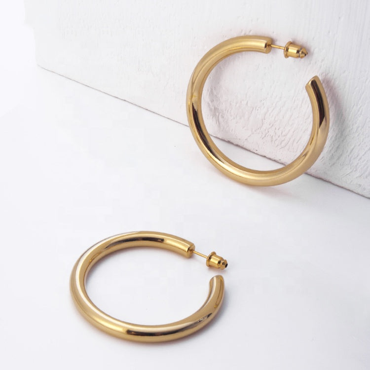 Large Thick Gold Hoops