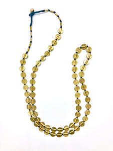 Brass Disk Long Necklace