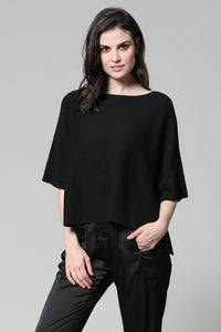 Short Sleeve Black Sweater