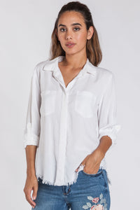 Optic White Button Up Blouse