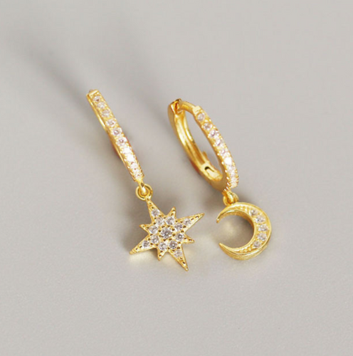 925 Moon and Star CZ Huggie Hoops