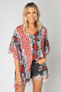 Buddy Love Red Boa North Tunic