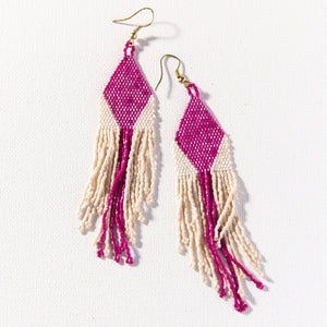 Magenta And Ivory Diamond Luxe Stripe Earring