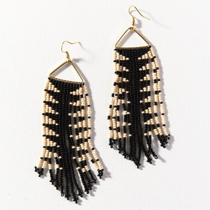 Black And Ivory Arrow Fringe Earring