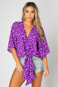 Buddy Love Muse Violet Tie Front Top