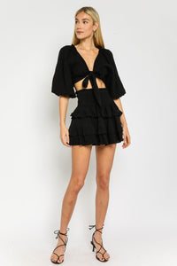 Black Gauze Tie Front Top