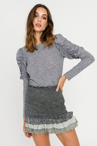 Ruched Sleeve Knit Top