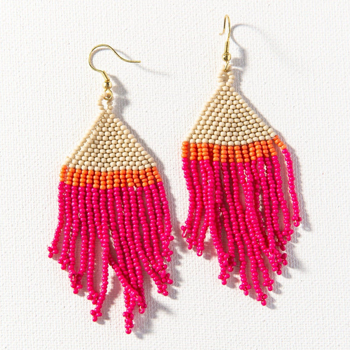 Hot Pink Ivory Coral Stripe Seed Bead Earring