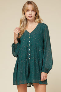 Green Galaxy Button Romper