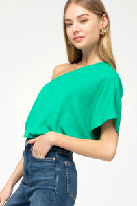 Green One Shoulder Top