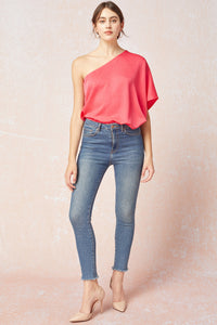 Coral One Shoulder Top