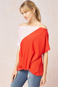 Red and Pink Color Block Top