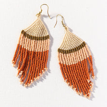 Ivory Gold Pink Rust Stripe Seed Bead Earring