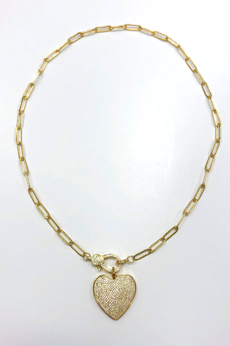 Full Heart Gold Pave Necklace
