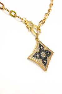 Gold Pave Square Pendant Necklace