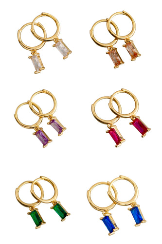 925 Color Dangle Huggie Hoops
